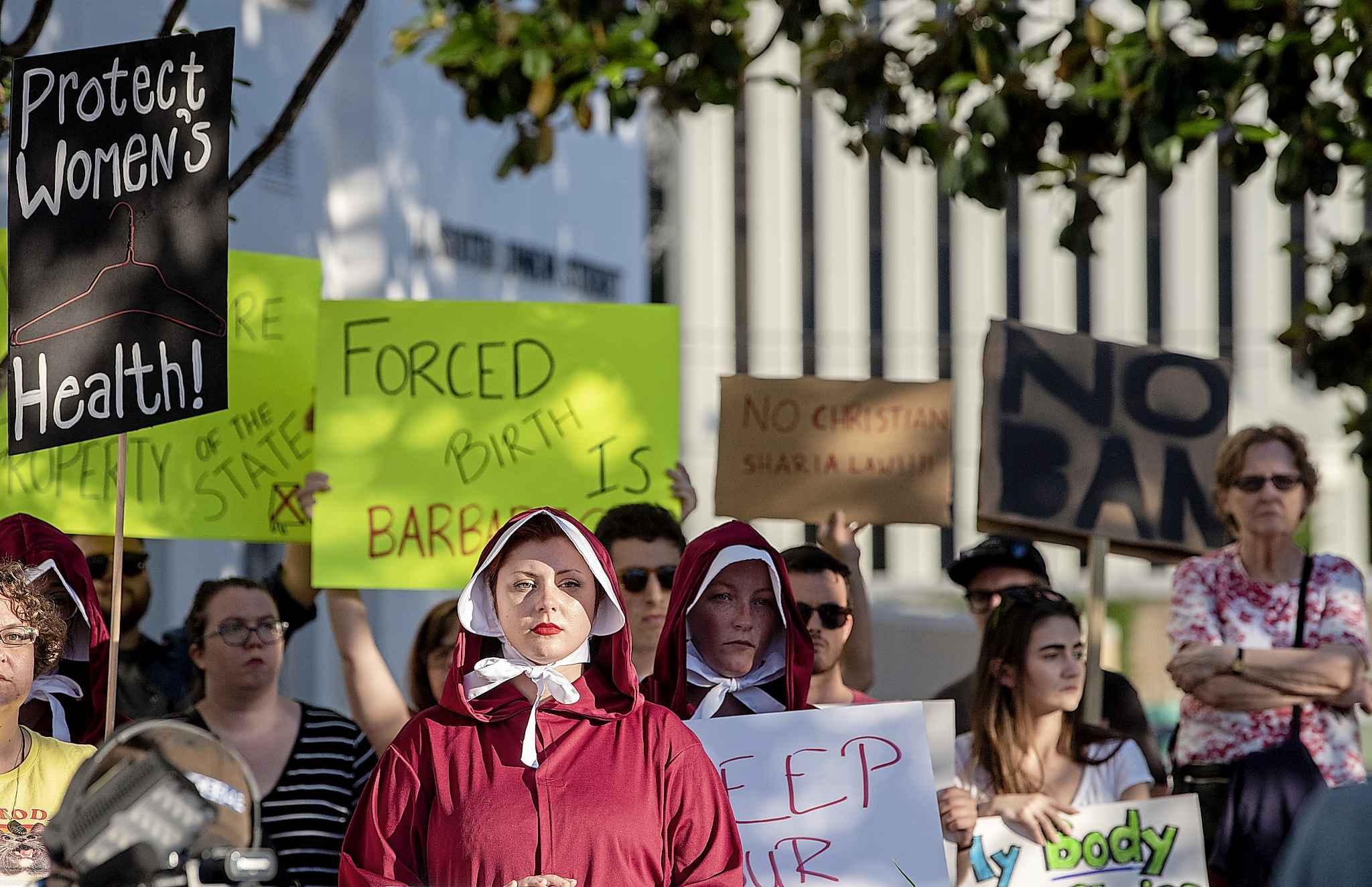 Protesters rally against the abortion bill outside of the Alabama Statehouse in Montgomery, Ala. (Mickey Welsh / The Montgomery Advertiser)