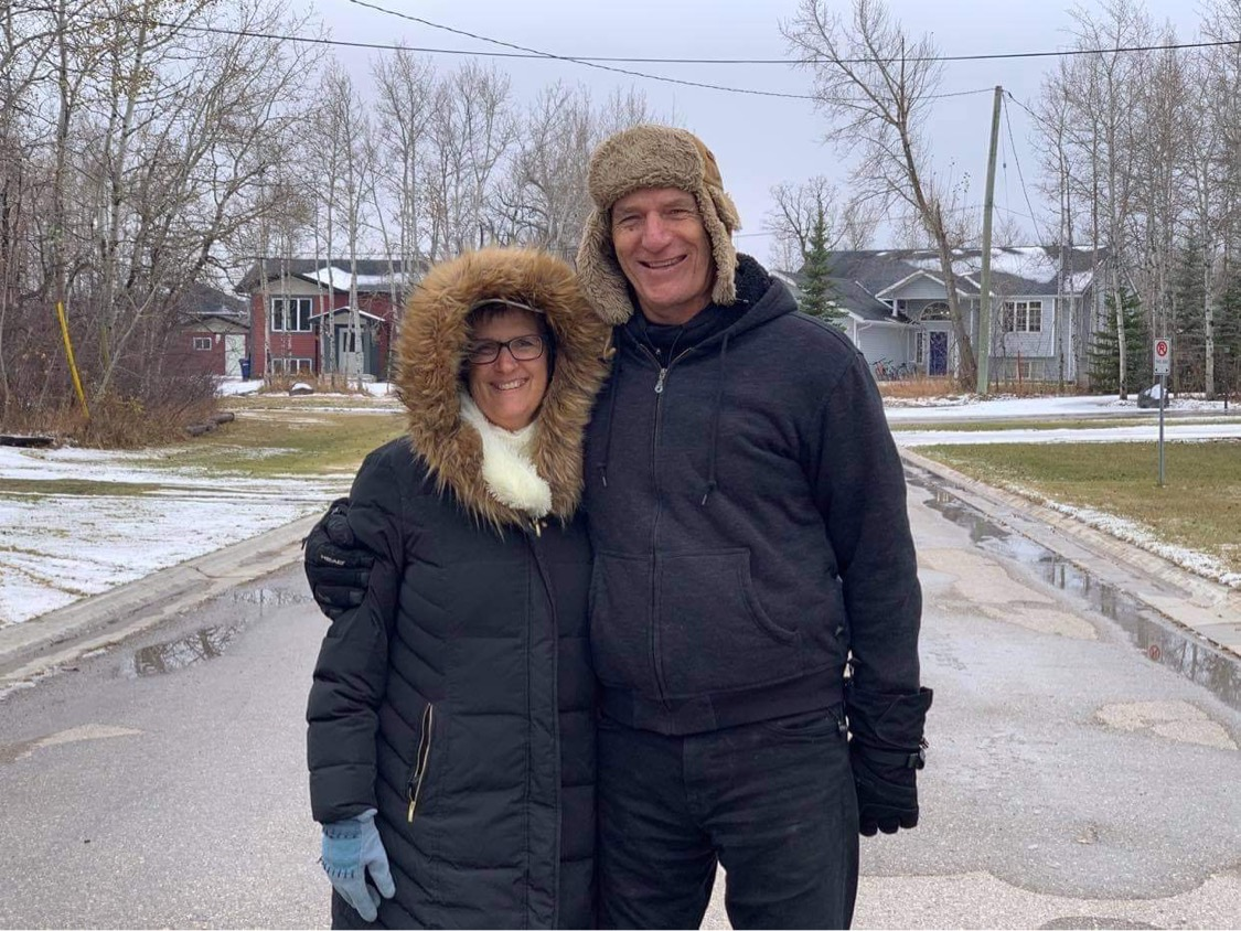 Linda and Herb Wiebe share a moment during one of their many walks together.