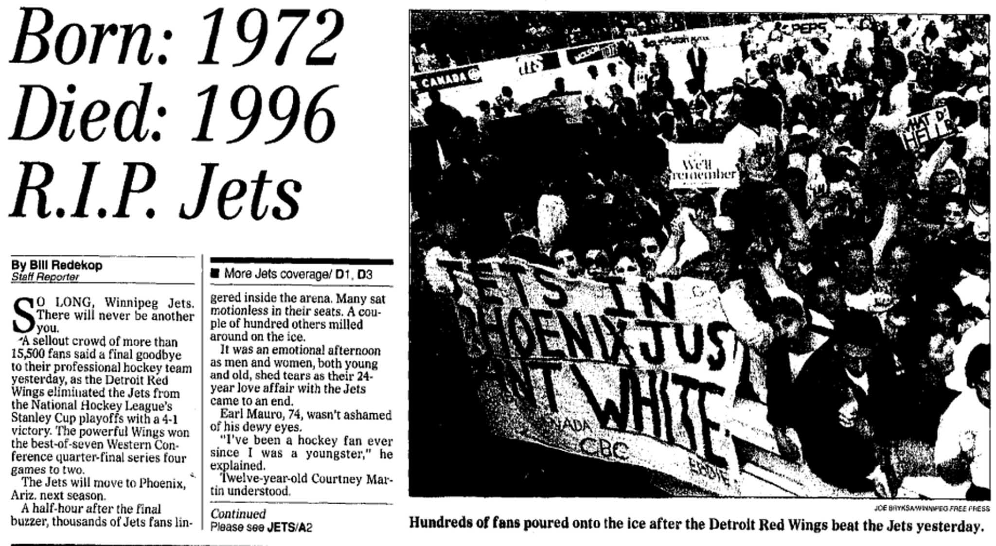 The story on the front page of the Winnipeg Free Press on April 29, 1996.