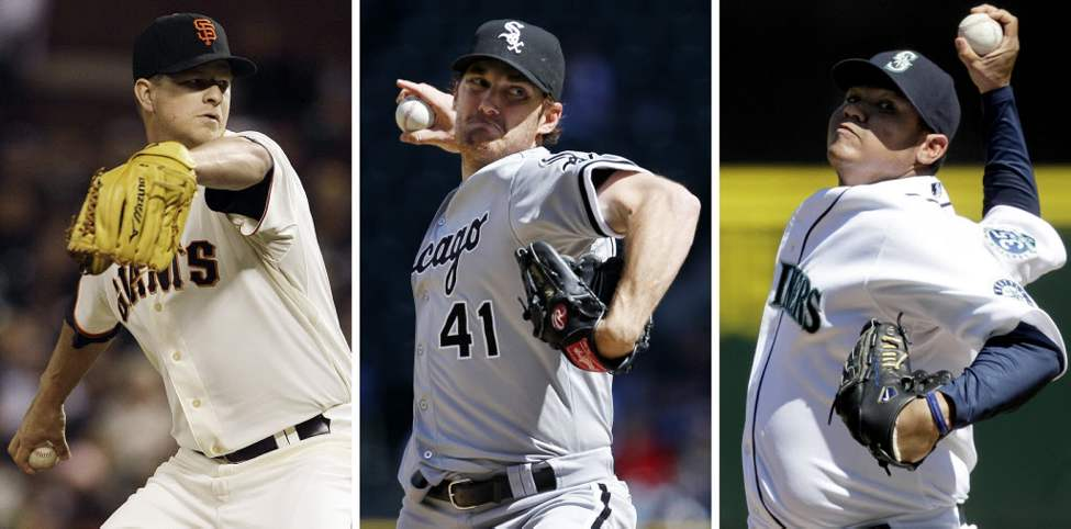 This combination of 2012 file photos shows, from left, San Francisco Giants pitcher Matt Cain on June 13, Chicago White Sox pitcher Philip Humber on April 21, and Seattle Mariners pitcher Felix Hernandez on Wednesday, Aug. 15. Seattle's Hernandez threw a perfect game, the Mariners' first ever and the 23rd in baseball history, against the Tampa Bay Rays in a 1-0 victory on Wednesday. It was the third perfect game in baseball this season - a first. (AP Photos/File)
