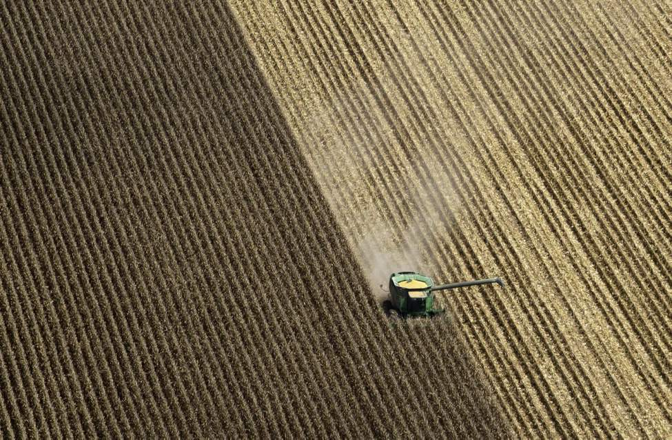 A combine harvests corn in a field near Coy, Ark.. Federal weather forecasters say drought conditions appear to be leveling off, although it is likely to continue at least through November. (AP Photo/Danny Johnston)
