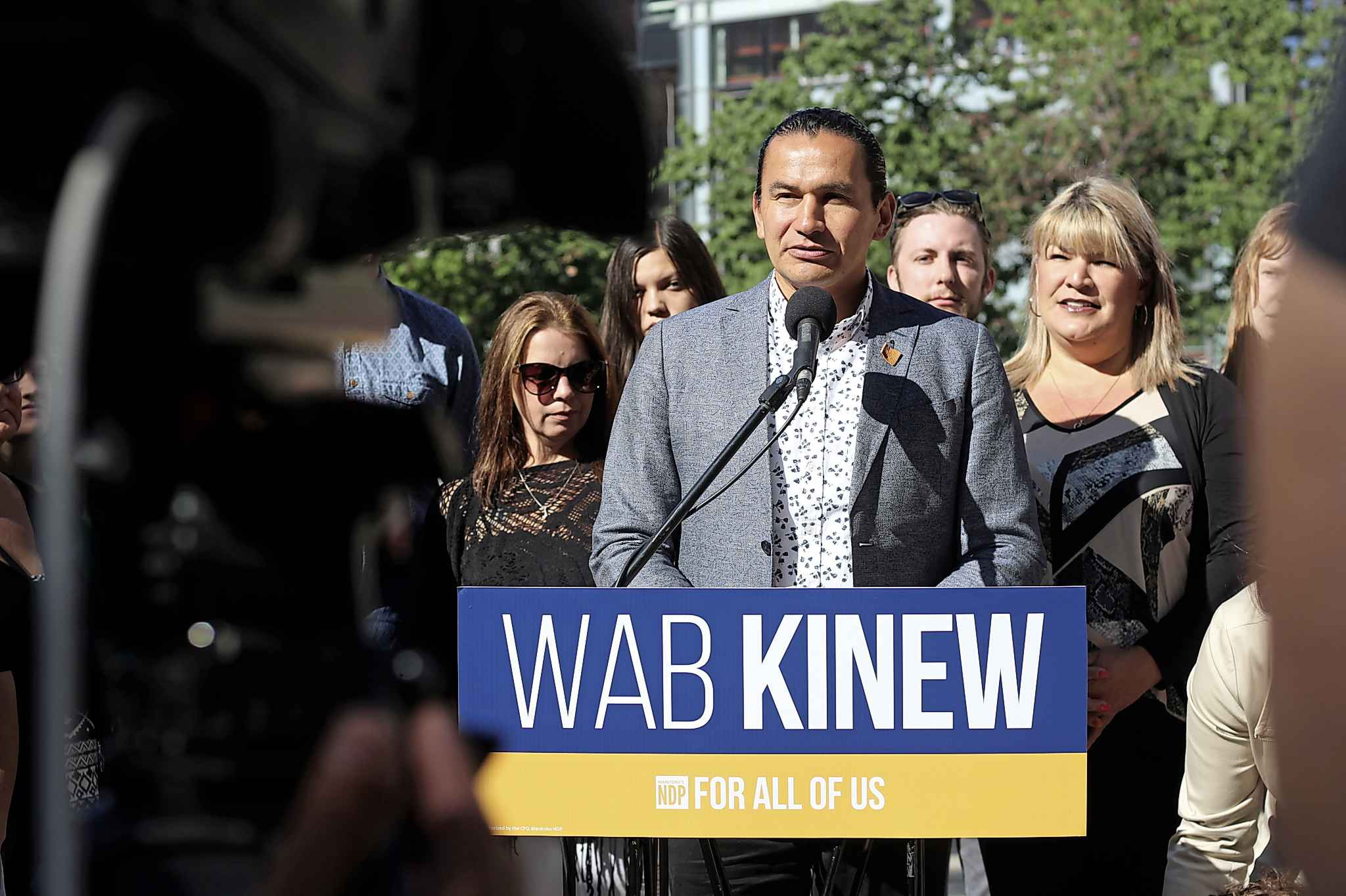 JESSICA BOTELHO-URBANSKI / WINNIPEG FREE PRESS</p><p>NDP Leader Wab Kinew made a series of post-secondary education promises with estimated annual costs around $10 million during a campaign announcement outside Red River College's Exchange District campus Friday.</p>