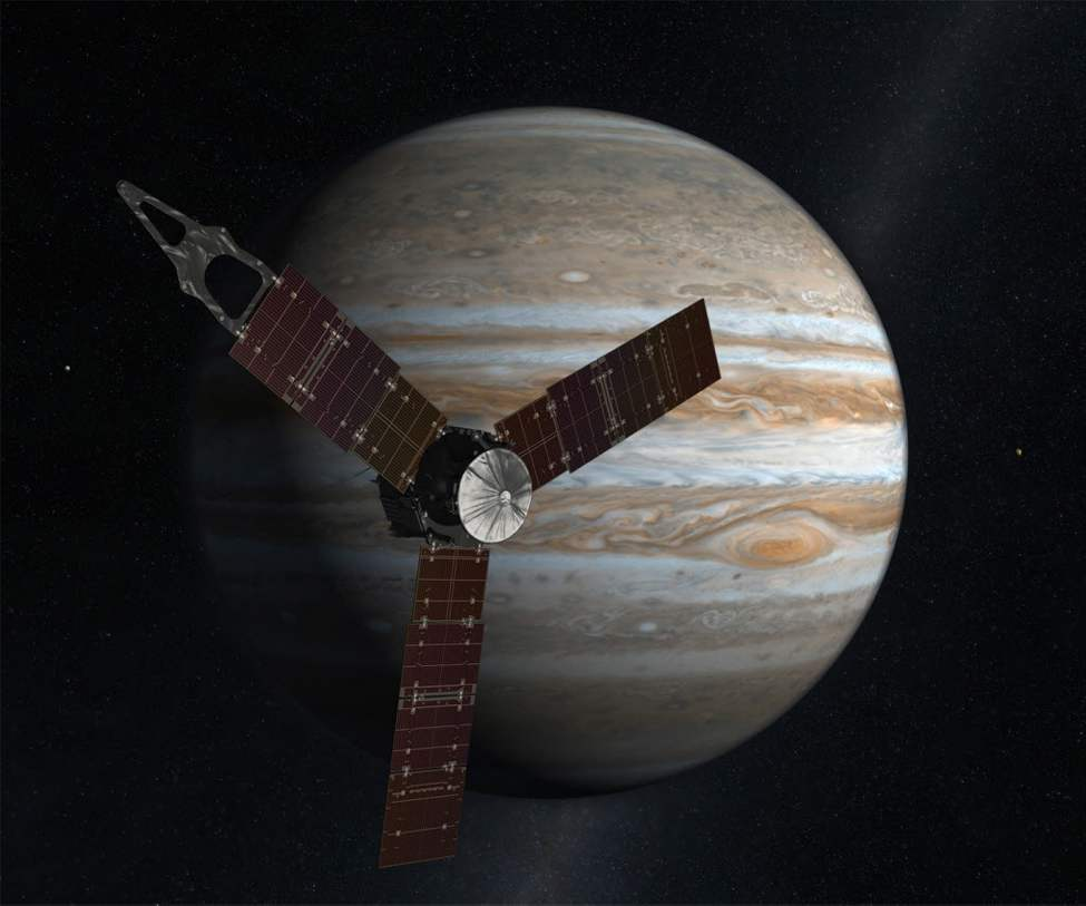 An artist's rendering of the Juno spacecraft circling Jupiter. The spacecraft planned to fire its engine today, the first of two engine burns to set it up for an Earth gravity assist next year. It's due to arrive at Jupiter in 2016. (AP Photo/NASA)