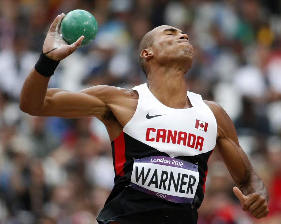 Damian Warner of Canada takes a throw in the shot put decathlon during the athletics in the Olympic Stadium at the 2012 Summer Olympics. (AP Photo/Matt Dunham)