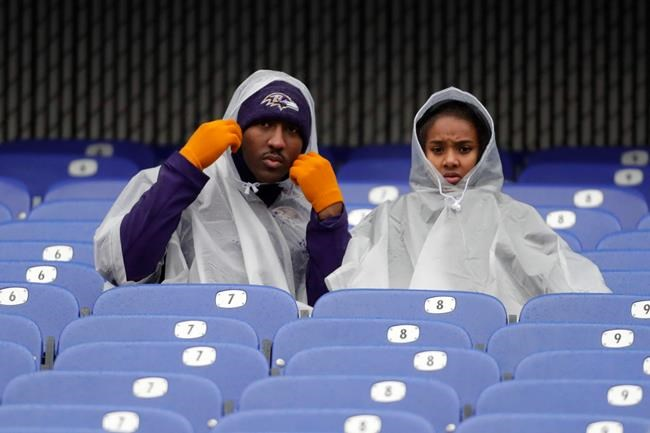 Fans arrive early to their seats to watch an NFL football game between the Baltimore Ravens and the San Francisco 49ers, Sunday, Dec. 1, 2019, in Baltimore, Md. (AP Photo/Julio Cortez)