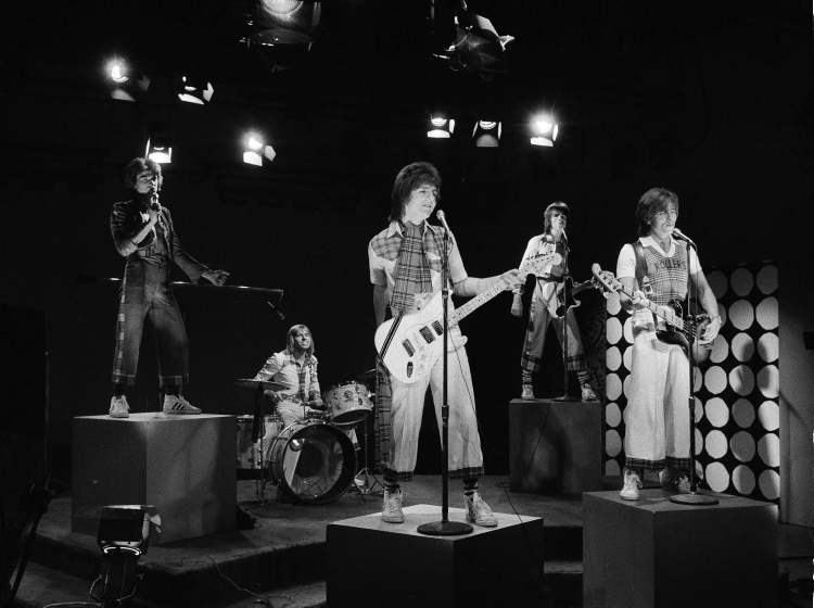 """As they were: The """"Bay City Rollers perform as they tape an episode of the Wonderama""""television show in New York on Jan. 16, 1976. Les McKeown (left) is still singing for the band."""