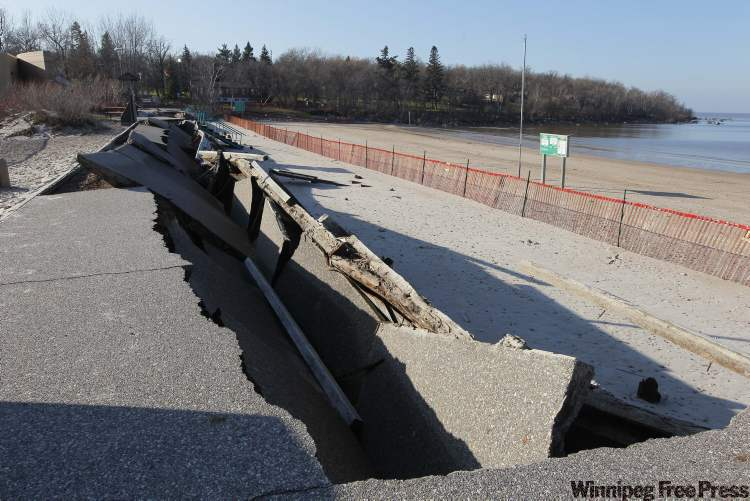 The Grand Beach boardwalk was destroyed in October by huge waves created by a 'weather bomb' of rain and high wind in Lake Winnipeg's south basin.