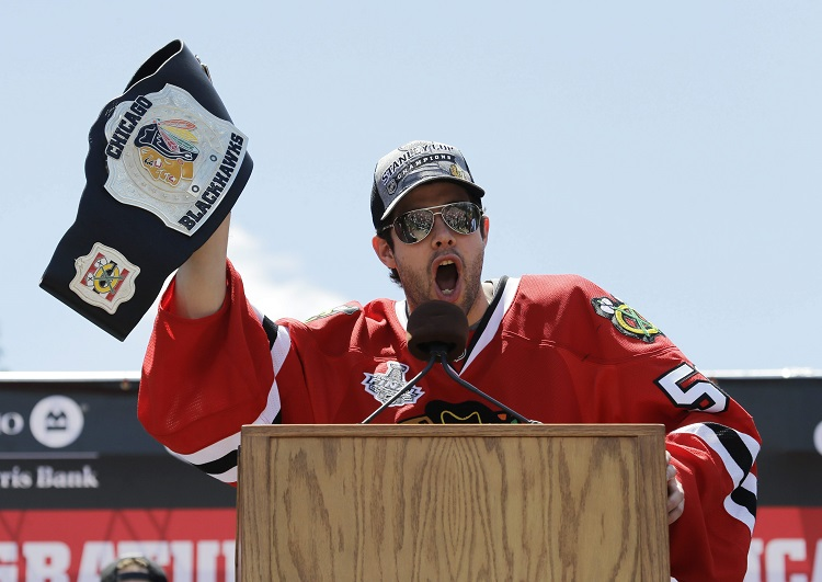 Chicago Blackhawks goalie Corey Crawford speaks to the thousands of fans.