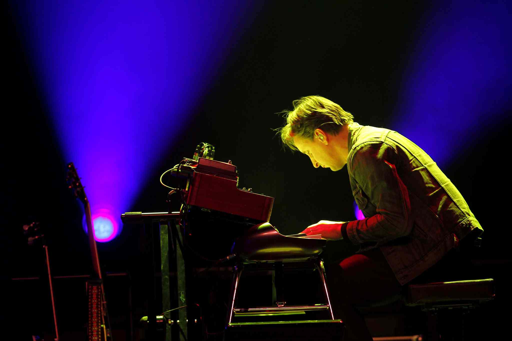 Keyboard player Mike Boguski, a new addition to Blue Rodeo, performed a crowd-pleasing solo during the band's 1989 track Diamond Mine.