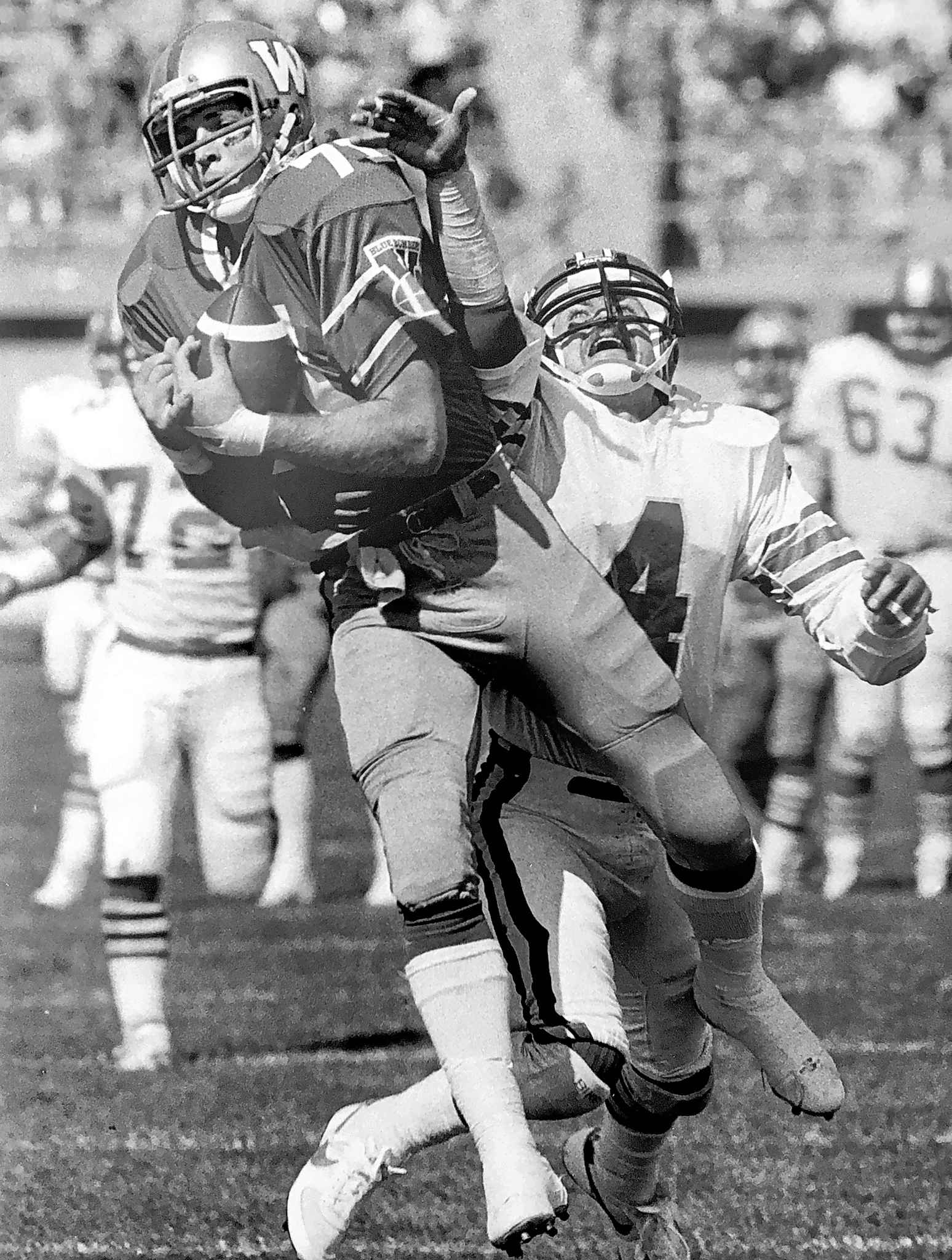 <p>Bombers' slotback Joe Poplawski had four catches and one touchdown.</p>