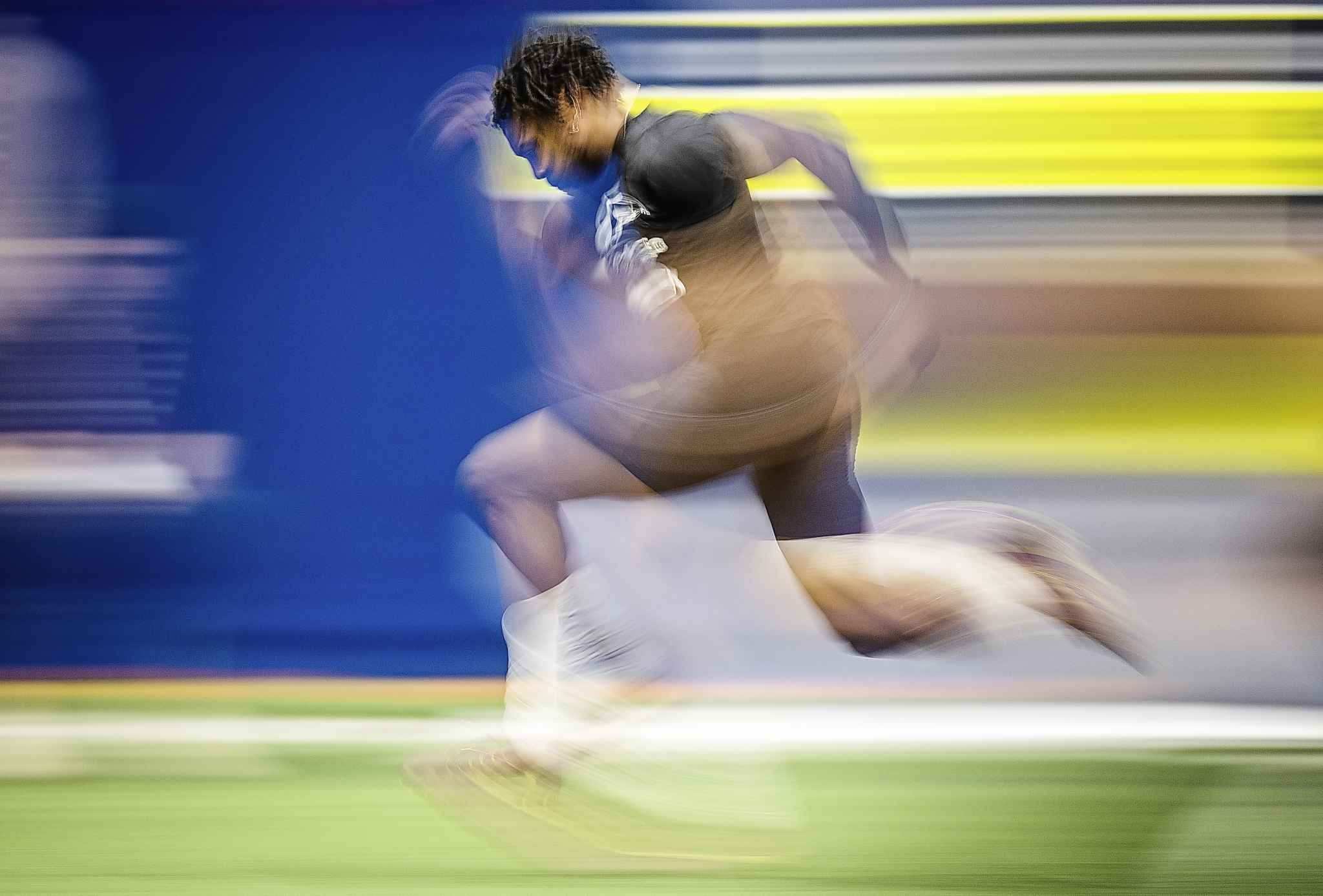 Malik Richards during on field tests at the CFL combine in March. The Bombers selected the speedy Mount Allison receiver in the fifth round, 43rd overall.