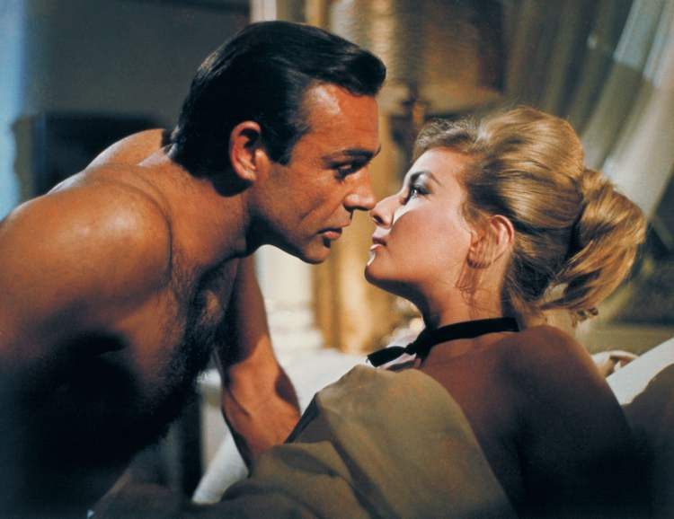 Sean Connery as James Bond in a scene from the 1963 film, From Russia With Love. Connery, a relatively unknown Scottish actor and former bodybuilder, was cast in the hit movies as Bond.  From Russia with Love was the second in the series.