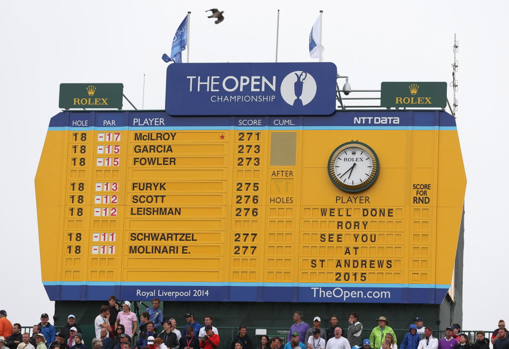The final scoreboard of the British Open Golf Championship shows the winner Rory McIlroy of Northern Ireland at the end of the British Open Golf championship at the Royal Liverpool golf club, Hoylake, England, Sunday.  McIlroy shot a final round of 71 to seal his victory at the Open.  The 25-year-old was 17 under par for the tournament.   (Scott Heppell / AP Photo)