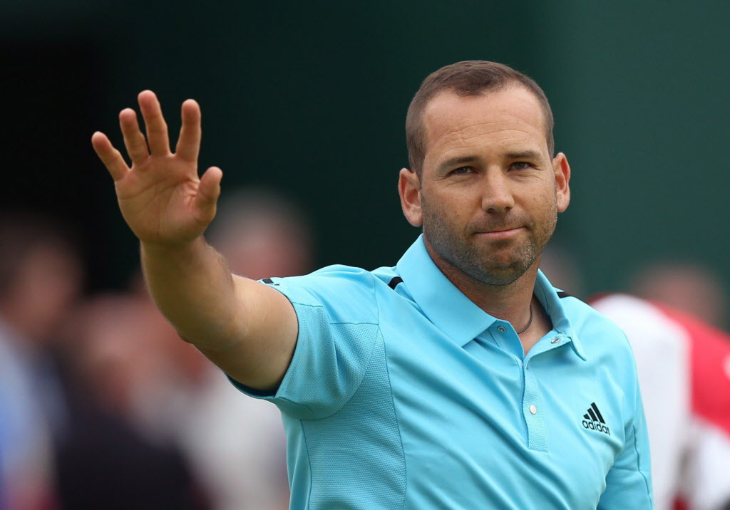 Sergio Garcia of Spain waves to the crowd after completing his final round on the 18th green at the British Open Golf championship at the Royal Liverpool golf club, Hoylake, England, Sunday. (Scott Heppell / AP Photo)