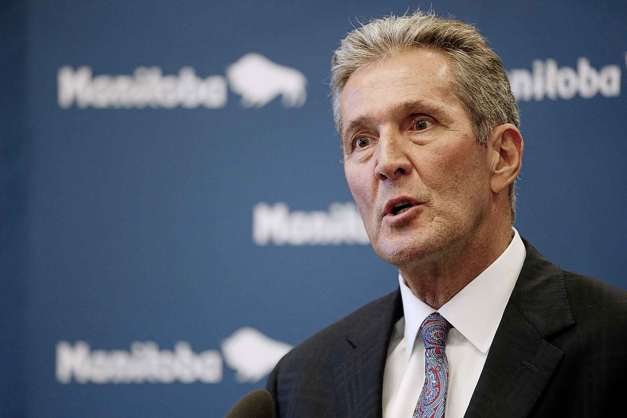 Manitoba premier Brian Pallister speaks to media after the tabling of his party's provincial budget was filibustered by the opposition NDP at the Manitoba Legislature on Wednesday March 11, 2020. (John Woods / Canadian Press files)