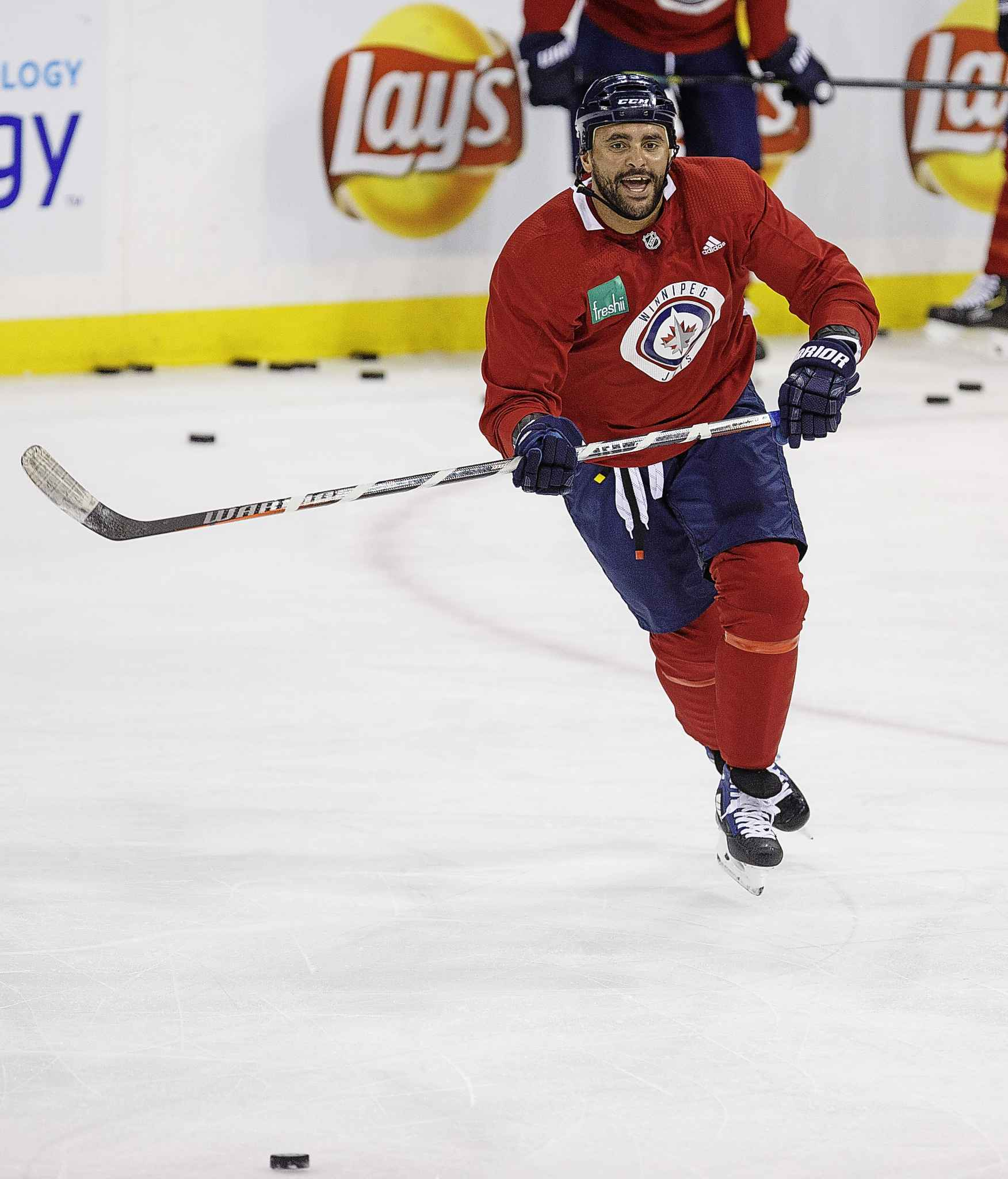 Winnipeg Jets' Dustin Byfuglien during practice at Bell MTS Place Wednesday morning.