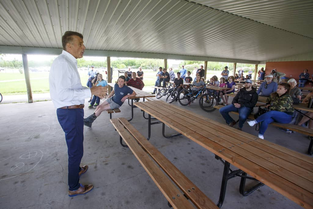 Maxime Bernier, leader of the People's Party of Canada, made his first of several stops in Manitoba at Hespeler Park in Niverville Friday morning. (Mike Deal / Winnipeg Free Press)