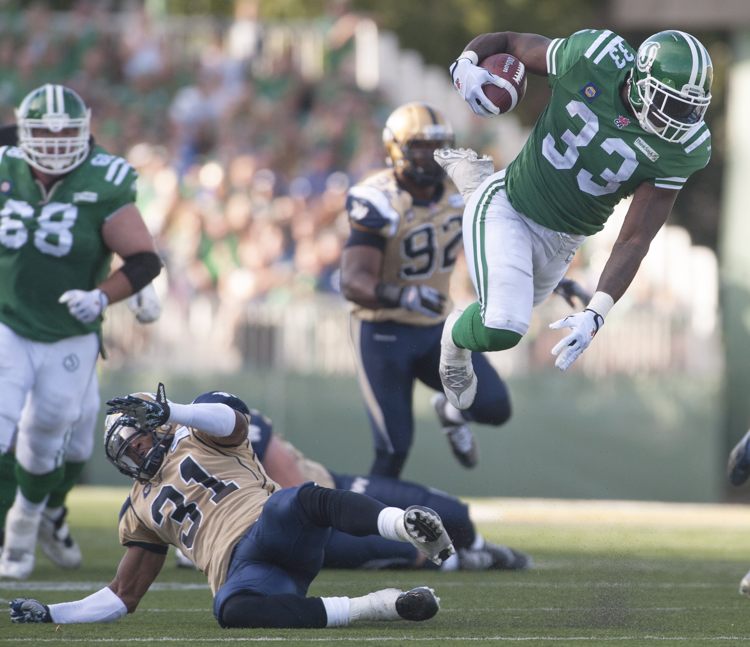 Riders running back Jerome Messam was a played a big role in Saskatchewan's game-winning drive.