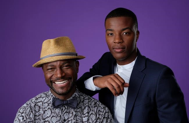 "Taye Diggs, left, and Daniel Ezra, cast members in the CW series ""All American,"" pose together for a portrait during the 2018 Television Critics Association Summer Press Tour, Monday, Aug. 6, 2018, in Beverly Hills, Calif. (Photo by Chris Pizzello/Invision/AP)"