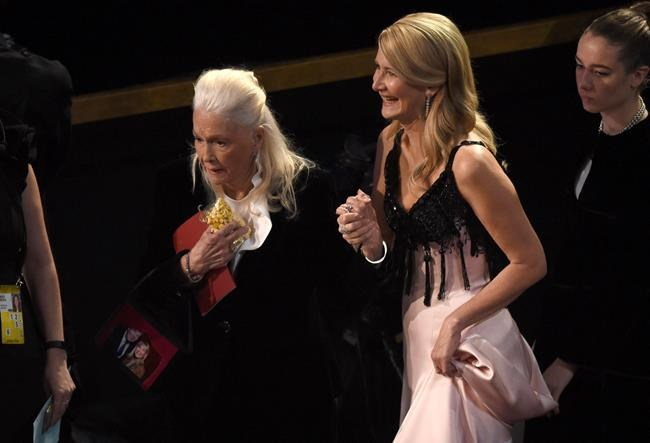 Diane Ladd, left, and Laura Dern appear in the audience at the Oscars on Sunday, Feb. 9, 2020, at the Dolby Theatre in Los Angeles. (AP Photo/Chris Pizzello)