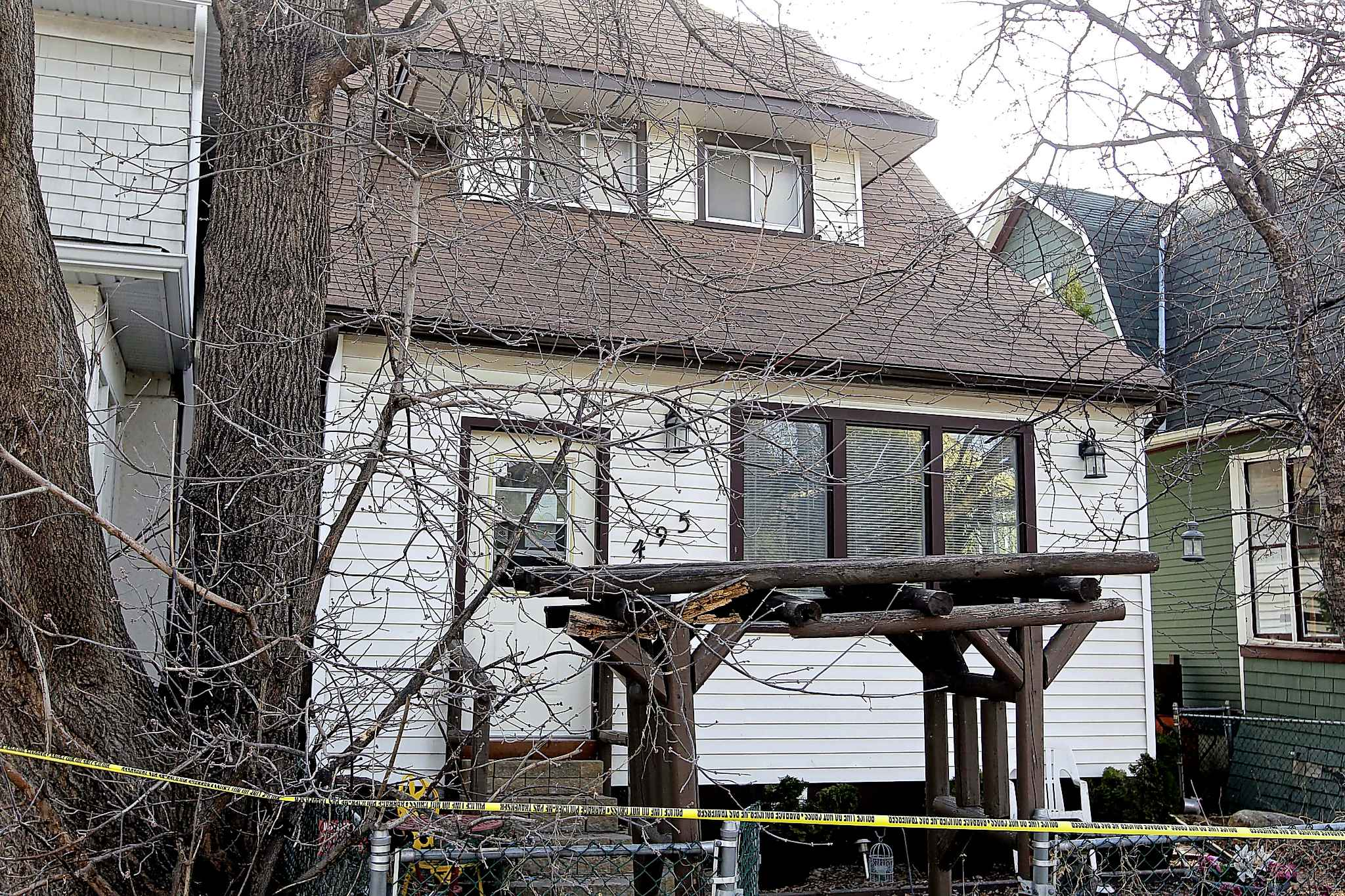 Police tape around the house at 495 Camden Place as they investigate the crime scene in April, 2017.