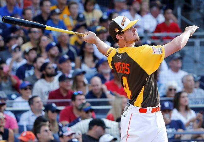 National League's Wil Myers of the San Diego Padres hits during the MLB baseball All Star Home Run Derby Monday
