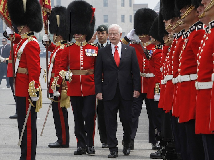 Gov. Gen. David Johnston inspects the Guard of Honour at the Canada Day celebrations on Parliament Hill, in Ottawa. (Fred Chartrand / The Canadian Press)