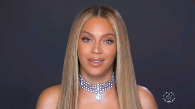 In this video grab issued Sunday, June 28, 2020, by BET, Beyonce accepts the humanitarian award during the BET Awards. (BET via AP)