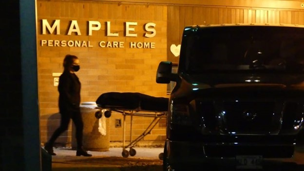 The scene outside Maples Long Term Care Home on Saturday, Nov. 7, 2020. (Walther Bernal / CBC)