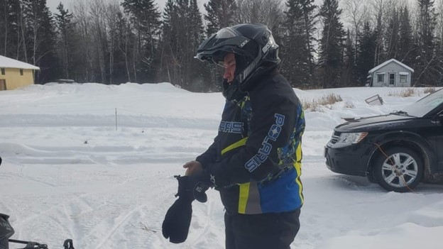 Family has told CBC News the missing snowmobiler is 50-year-old Dan LeMay from Grunthal, Man. They say this photo shows the clothing he was wearing at the time. (Submitted by family of Dan LeMay)