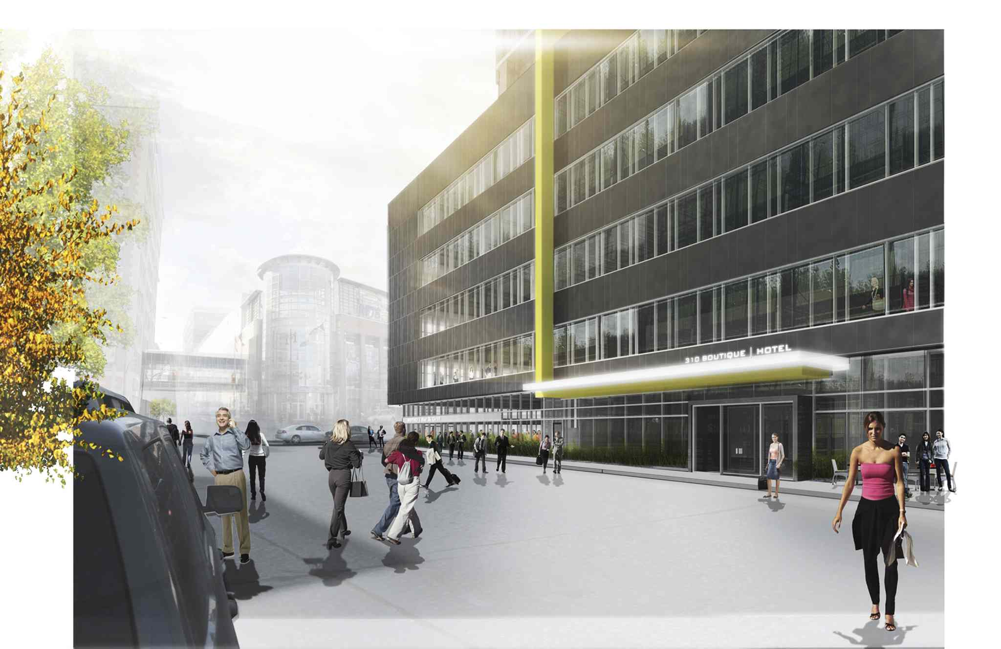 An artist's streetscape rendering of the Centrepoint development under construction at the northwest corner of Portage Avenue and Donald Street.