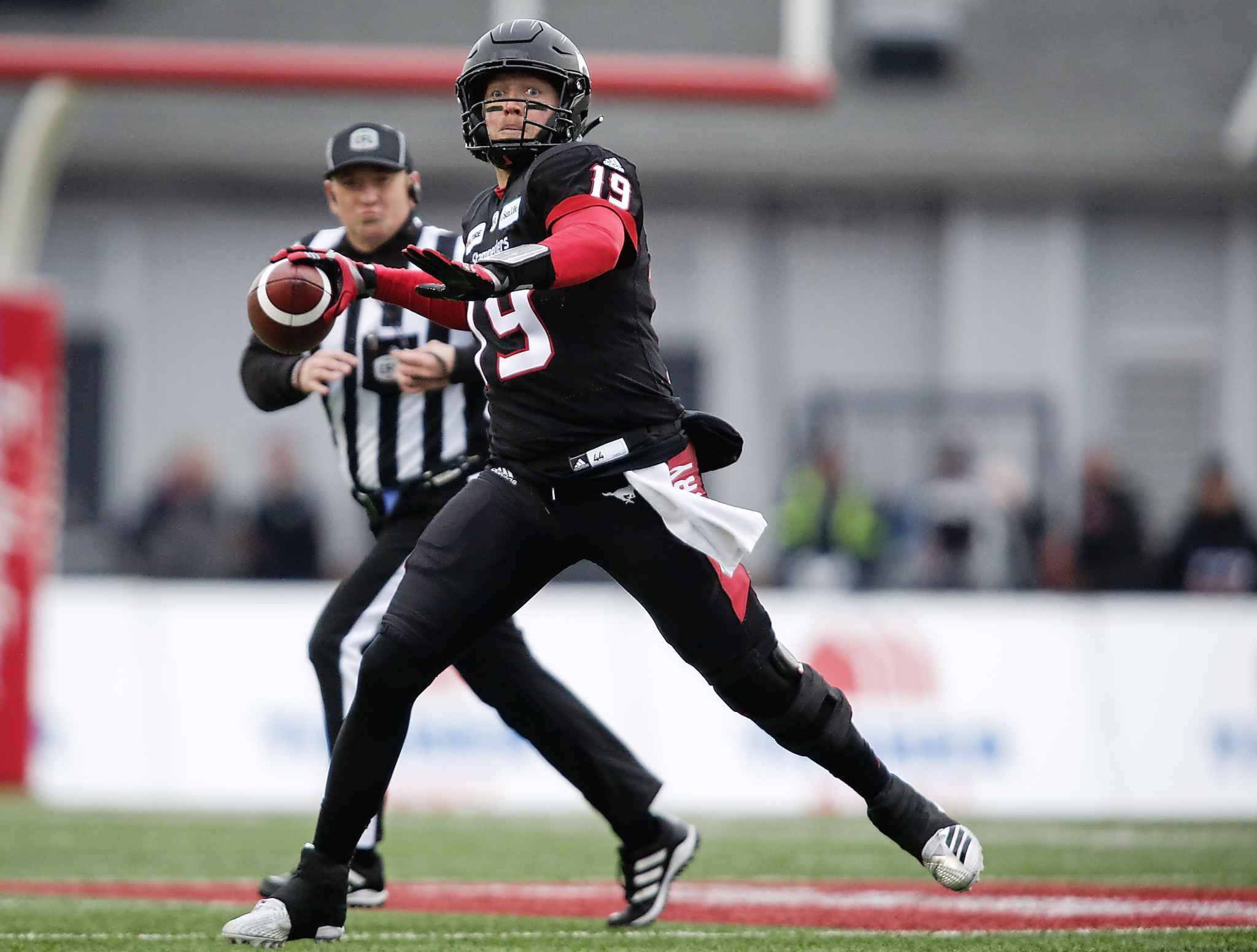 JEFF MCINTOSH / THE CANADIAN PRESS</p><p>Calgary Stampeders quarterback Bo Levi Mitchell prepares to throw the ball during first-half CFL West Division final football game action against the Winnipeg Blue Bombers in Calgary, Alberta, Sunday, Nov. 18, 2018.</p>
