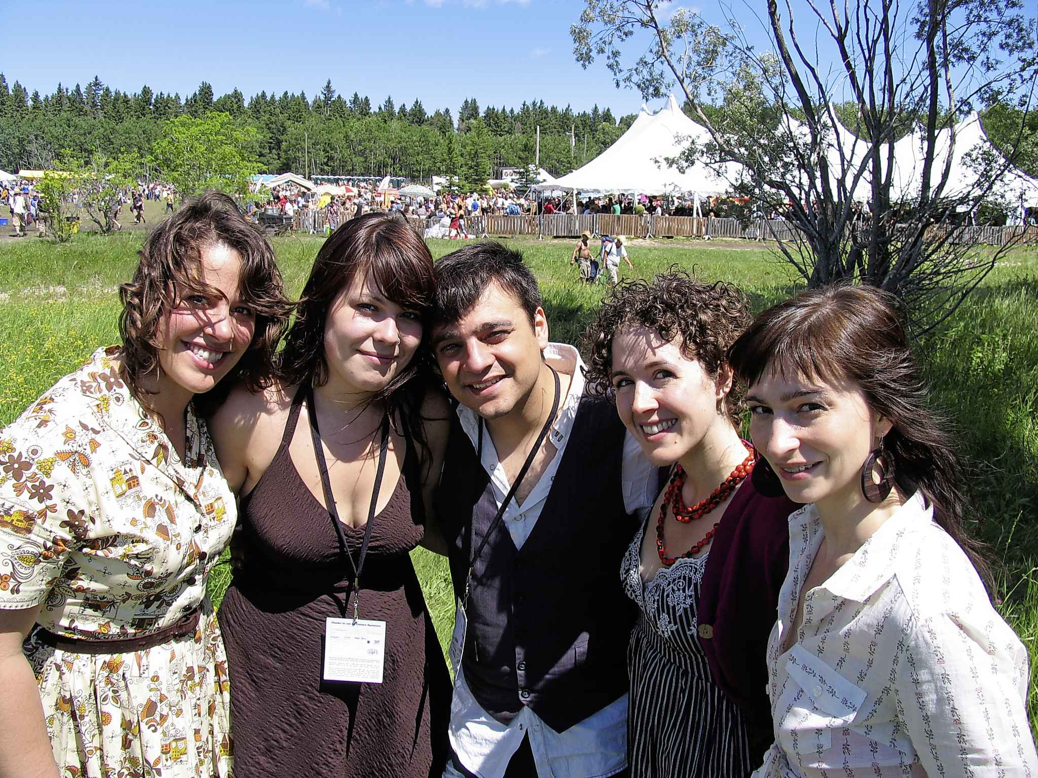 SUPPLIED</p><p>Chic Gamine at Winnipeg Folk Festival 2008, (from left) Andrina Turenne, Alexa Dirks, Sacha Daoud, Ariane Jean, and Annick Bremault.</p>