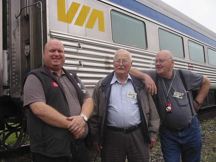 Rail Travel Tours president Daryl Adair with fellow trackies,  Robert Ernstberger and Jack Simpson.