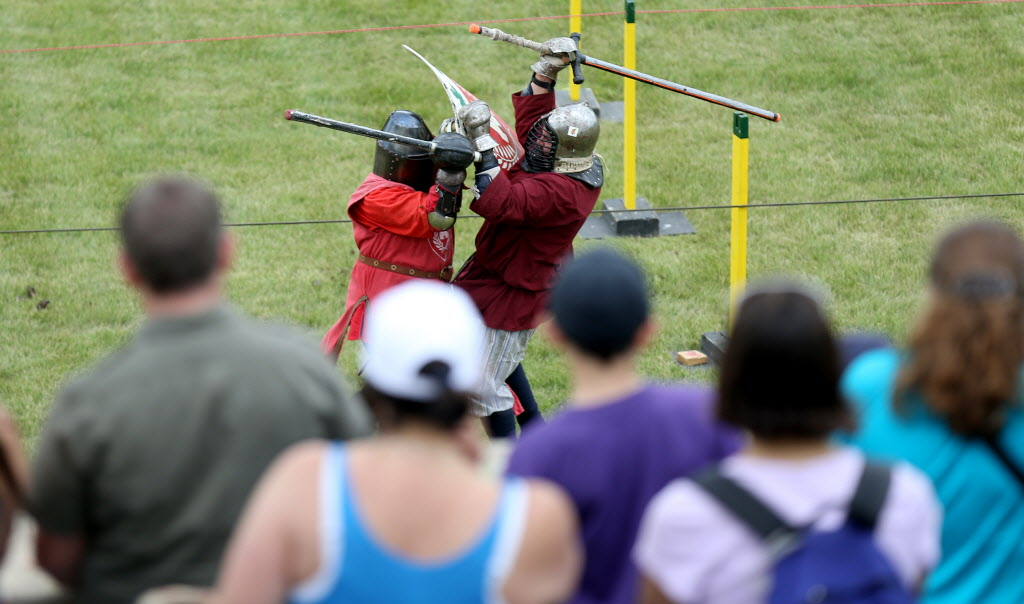 A combat demonstration at the Medieval Festival. (Trevor Hagan / Winnipeg Free Press)