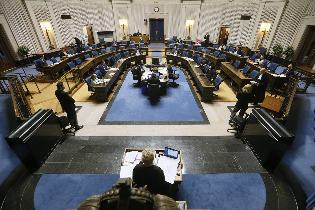 In order to observe proper social-distancing guidelines, not every member of the provincial government attended the special sitting at the Manitoba legislature on Wednesday. (John Woods / The Canadian Press)