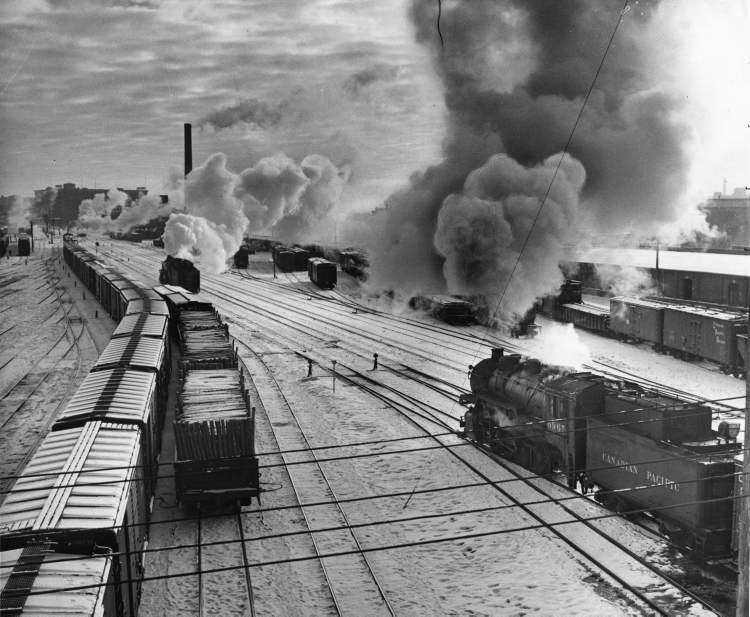 Winnipeg Free Press Archives January 1, 1957 New Year's morning dawned sunny and cold over Winnipeg and scenes like this could still be seen in the CP Rail yards. But by late tomorrow, unless there is an 11th hour settlement, this picture will be outdated by a fireman's strike against the railway which will stop all locomotives and bring operations to a standstill.