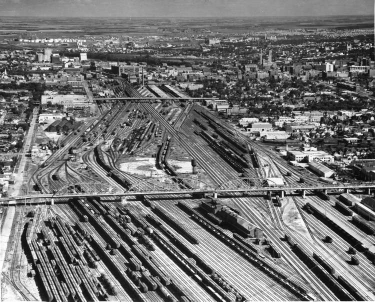 Winnipeg Free Press Archives April 30, 1968 The CP Rail marshaling yards, among the largest in the world, would be removed from central Winnipeg if recommendations in a new report on rail relocation are carried out.