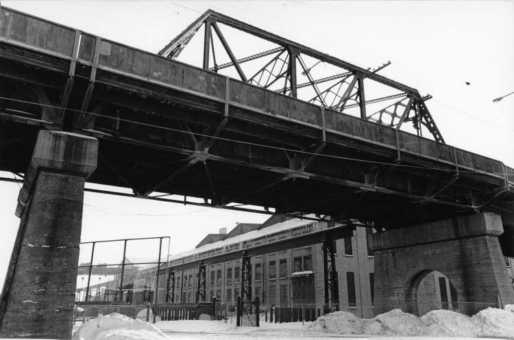 Winnipeg Free Press Archives February 3, 1979 Manitoba Bridge shown framed under south end of Arlington Bridge.