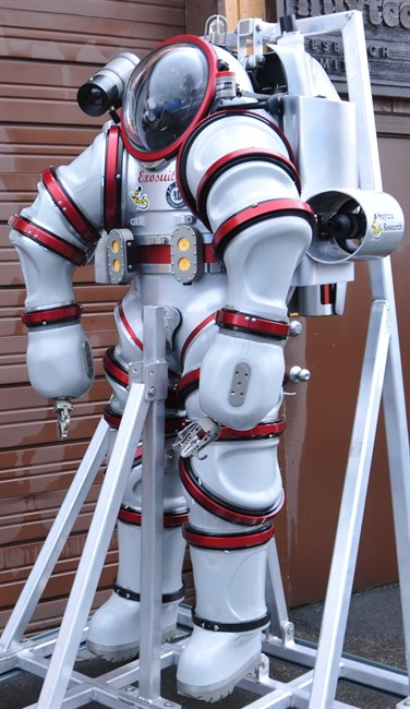The Exosuit, is shown in Nuytco's North Vancouver shop on Monday, March 19, 2012. Developed and built in North Vancouver by Nuytco Research Ltd, this hard metal dive suit allows divers to operate safely down to a depth of 1000 feet and yet still have exceptional dexterity and flexibility to perform delicate work. THE CANADIAN PRESS/HO-Donnie Reid