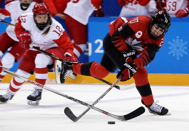 Sarah Nurse (20), of Canada, reaches for the puck during the first period of the preliminary round of the women's hockey game against the Olympic Athletes from Russia at the 2018 Winter Olympics in Gangneung, South Korea, Sunday, Feb. 11, 2018. THE CANADIAN PRESS/AP-Frank Franklin II