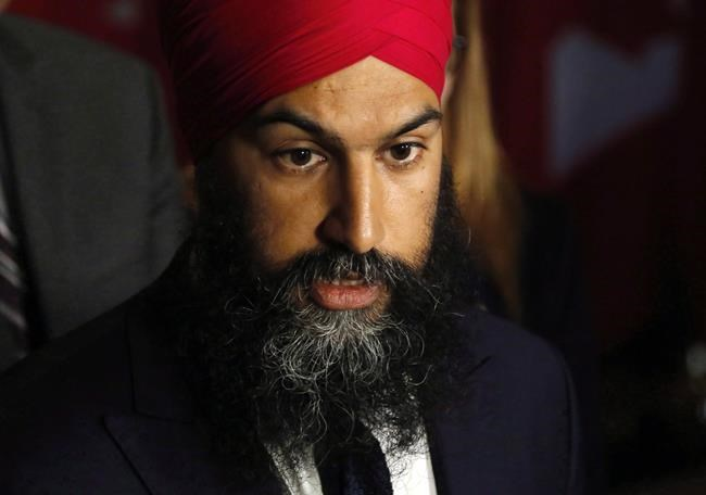 NDP Leader Jagmeet Singh speaks outside the House of Commons on Parliament Hill in Ottawa on May 3, 2018. THE CANADIAN PRESS/ Patrick Doyle
