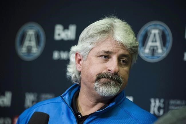 Toronto Argonauts general manager Jim Popp speaks to media at the Argo practice facility in Toronto, on Wednesday, November 29, 2017. The Toronto Argonauts have firedPopp. A source confirmed the move to The Canadian Press. THE CANADIAN PRESS/Christopher Katsarov