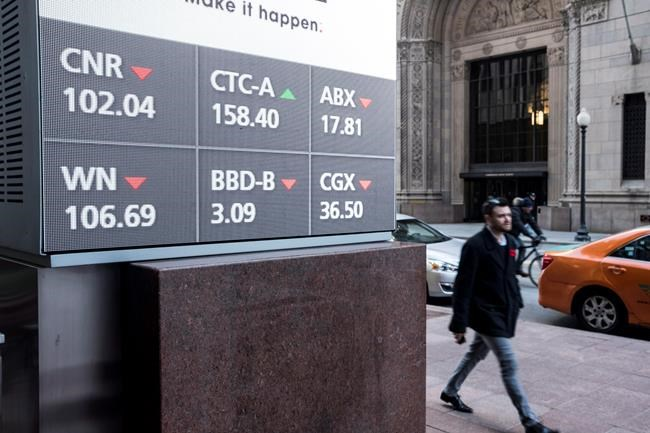 Stock prices are displayed on a sign outside Scotia Bank in Toronto on November 8, 2017. THE CANADIAN PRESS/Doug Ives