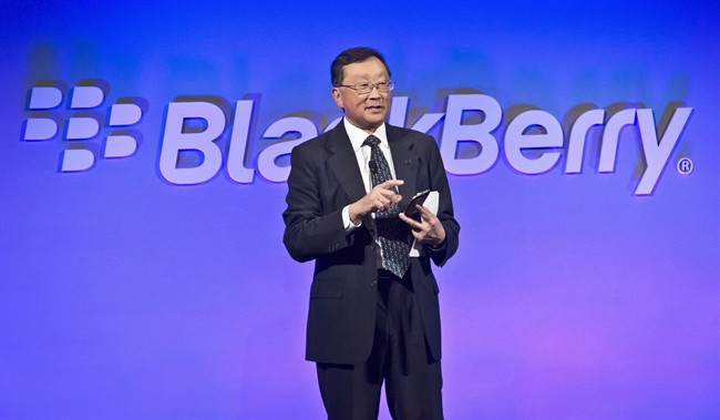 BlackBerry is hoping not only to return to the hearts and minds of smartphone users but, starting next year, the company wants to get into their cars and homes too. BlackBerry CEO John Chen introduces the company's new phone, the BlackBerry Classic, during a news conference, Wednesday, Dec. 17, 2014, in New York. THE CANADIAN PRESS/AP, Bebeto Matthews