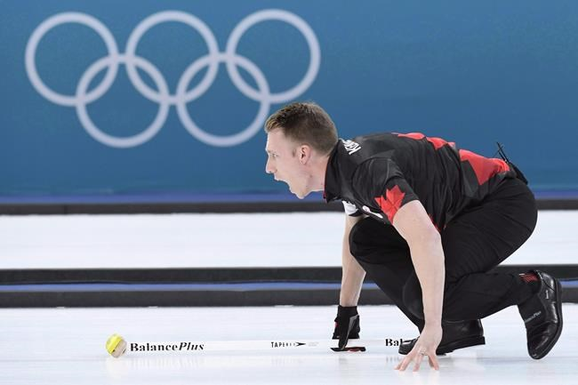 Canada third Marc Kennedy reacts after playing a stone during men's semifinal curling action against the USA at the 2018 Winter Olympics in Gangneung, South Korea on February 22, 2018. A new-look Team Brad Jacobs will have a fellow Olympian in tow at the Canada Cup as the rink attempts to put recent distractions aside and continue a strong first half of the season. Marc Kennedy will fill in for third Ryan Fry at the Dec. 5-9 competition at Affinity Place. Fry is taking an indefinite leave after his disqualification from a bonspiel last month in Red Deer, Alta. THE CANADIAN PRESS/Nathan Denette