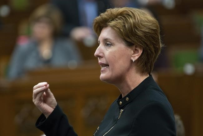 Agriculture Minister Marie-Claude Bibeau responds to a question during Question Period in the House of Commons, Monday April 29, 2019 in Ottawa. The Liberal government is launching a new three-year immigration pilot that aims to help fill labour shortages within Canada's agri-food sector. THE CANADIAN PRESS/Adrian Wyld