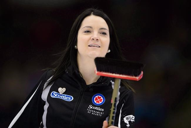 Wild Card skip Kerri Einarson takes on Manitoba at the Scotties Tournament of Hearts in Penticton, B.C., on Saturday, Feb. 3, 2018. Einarson heard the comments and questions. Four skips on one curling team, how is that going to work? THE CANADIAN PRESS/Sean Kilpatrick