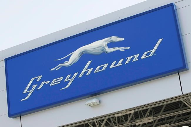 A Greyhound logo at the newly opened Greyhound Terminal at the James Richardson International Airport in Winnipeg on September 3, 2009. The company announced Monday it's discontinuing its passenger and freight service in Alberta, Saskatchewan and Manitoba. THE CANADIAN PRESS/John Woods