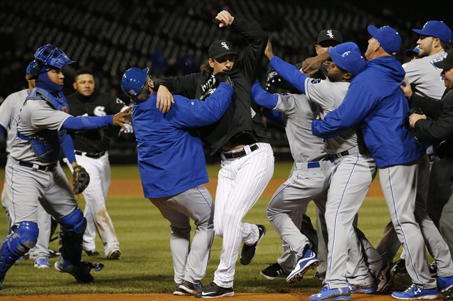 Chicago White Sox's Jeff Samardzija, center, fights with Kansas City Royals players during the seventh inning of a baseball game on April 23, 2015, in Chicago. The Kansas City Royals are brawling again. This one happened Thursday night after Yordano Ventura snagged a grounder by Chicago's Adam Eaton. They had heated words before Ventura threw to first, and the benches emptied, leading to five ejections. THE CANADIAN PRESS/AP, Andrew A. Nelles